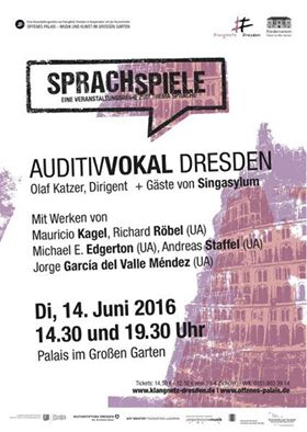 Konzertanlündigung: Auditivvokal Dresden am 14.06.2016