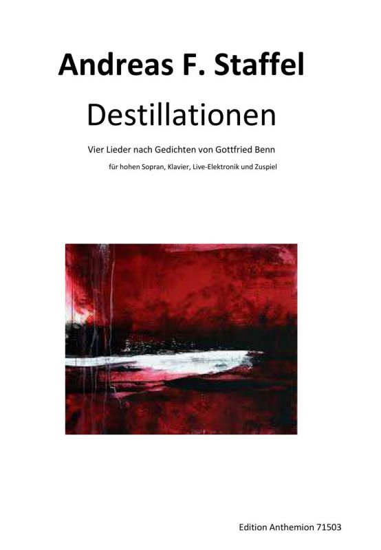 Cover sheet of the composition 'Destillationen' by Andreas F. Staffel